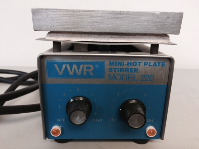 "Item 1 - VWR Mini Hot Plate Stirrer. Model 220. 375 W. 4""x4"" Al Plate - $35.00."