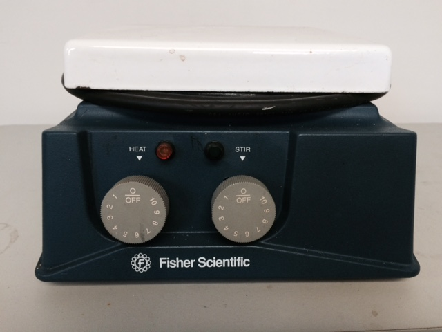 "Item 2. Fisher Scientific Hot Plate Stirrer. 858W. 7""x7"" Ceramic Plate. $35.00"