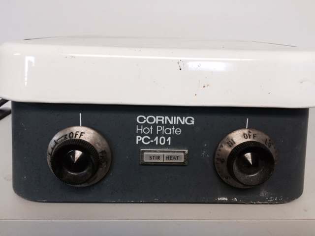 "Item 4. Corning PC 101 Hot Plate Stirrer. 1320W. 10""x10"" Ceramic Plate. $35.00."